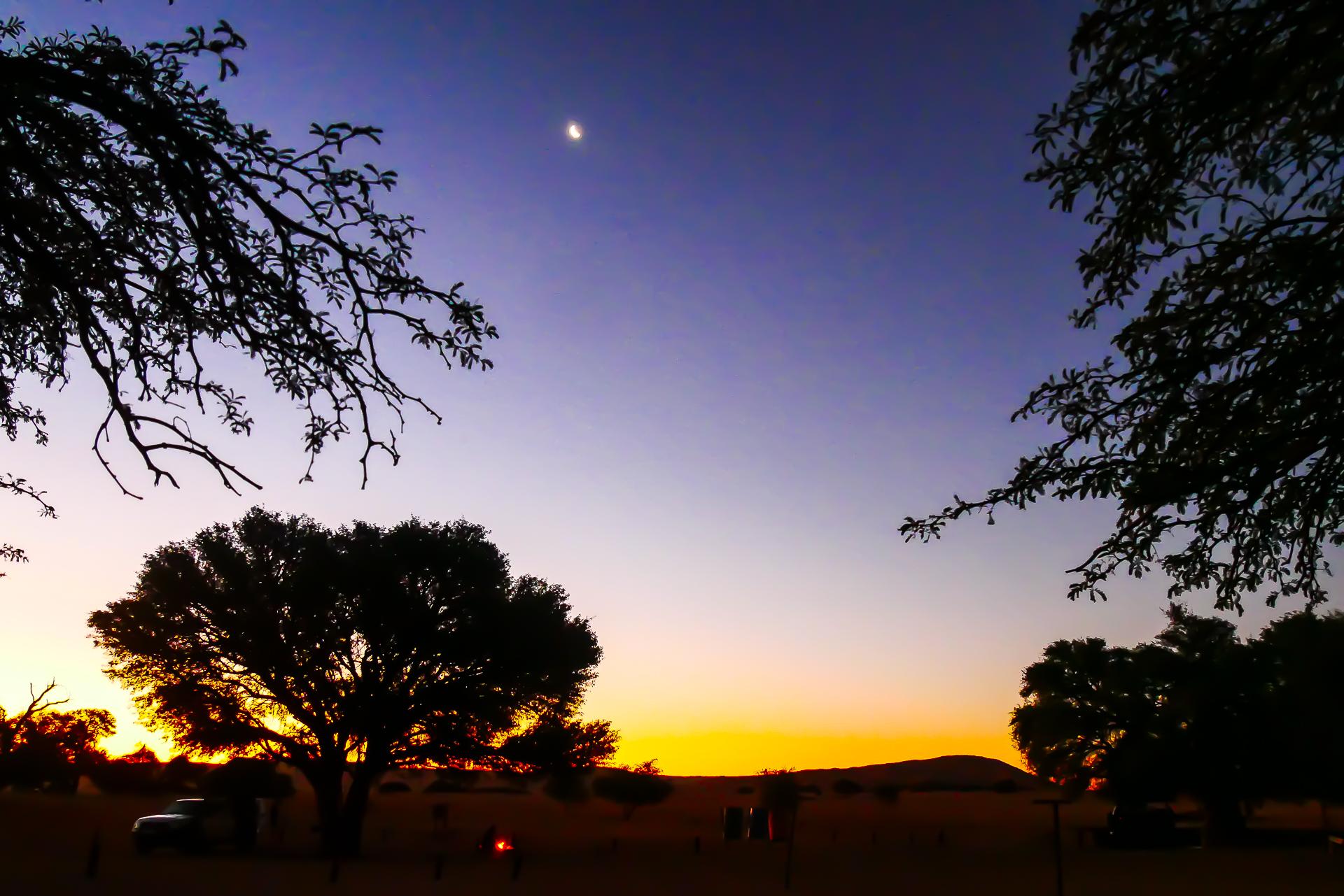 coucher du soleil sesriem Namibie