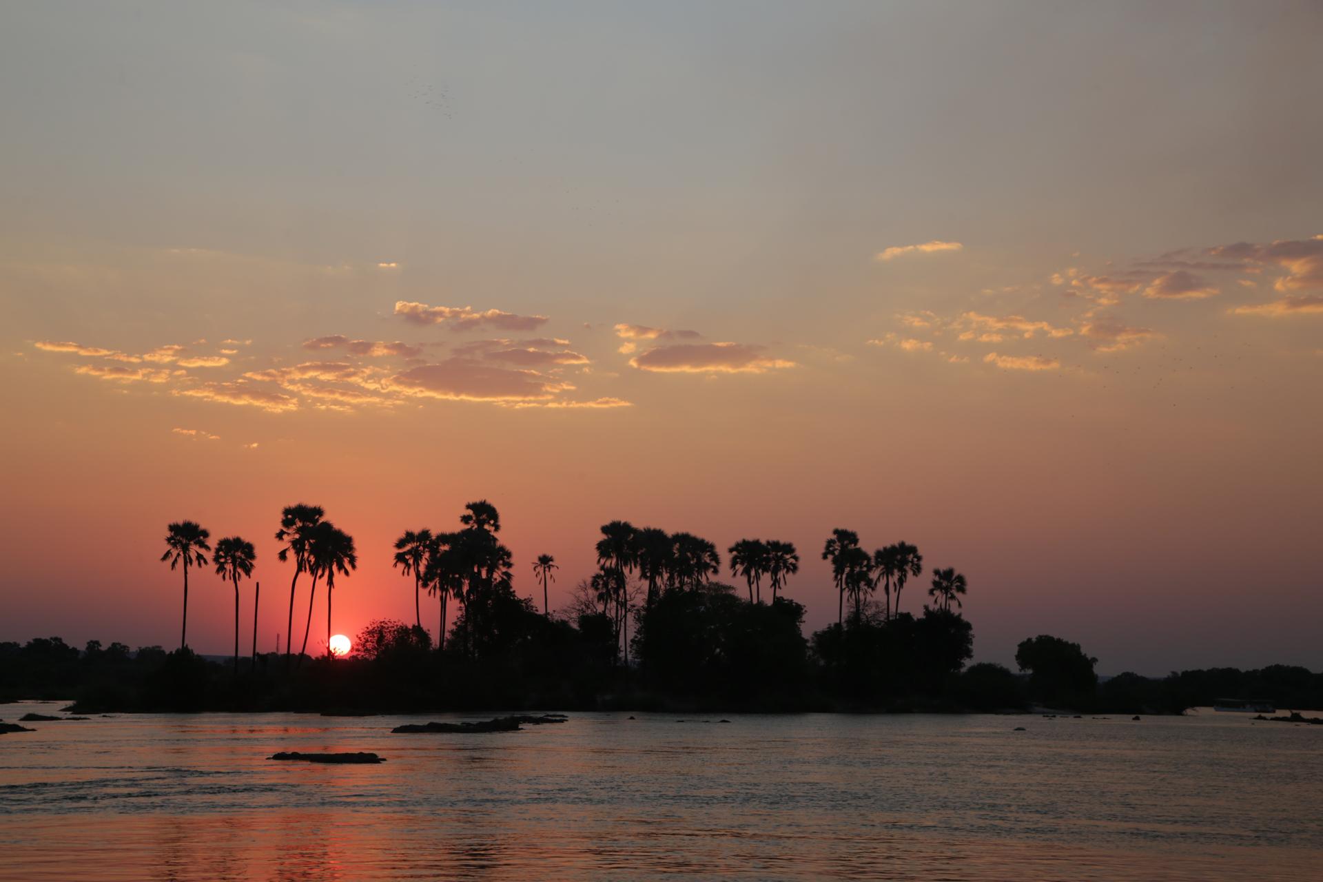 coucher de soleil navigation sur le fleuve zambèze