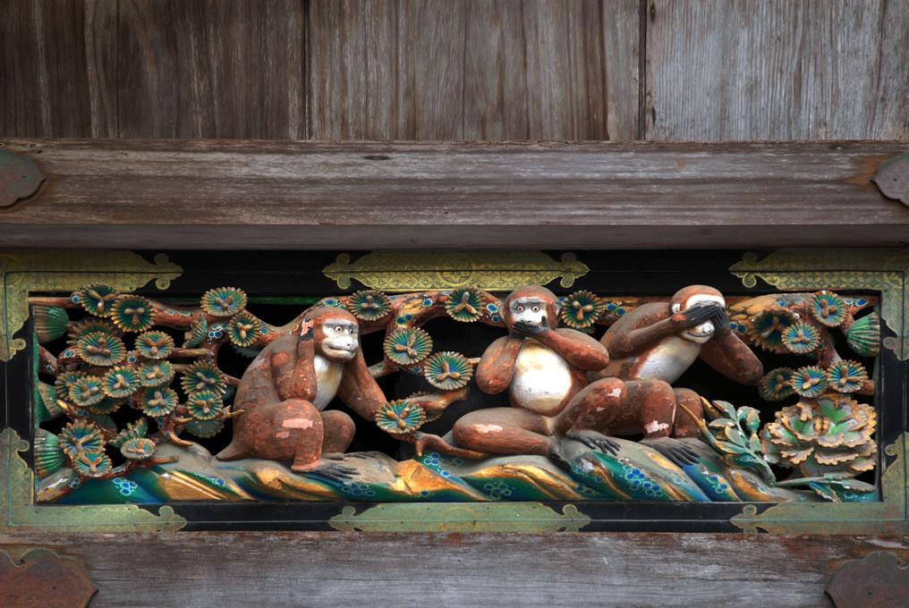 Les trois singes de la sagesse du Temple Toshogu, Nikko