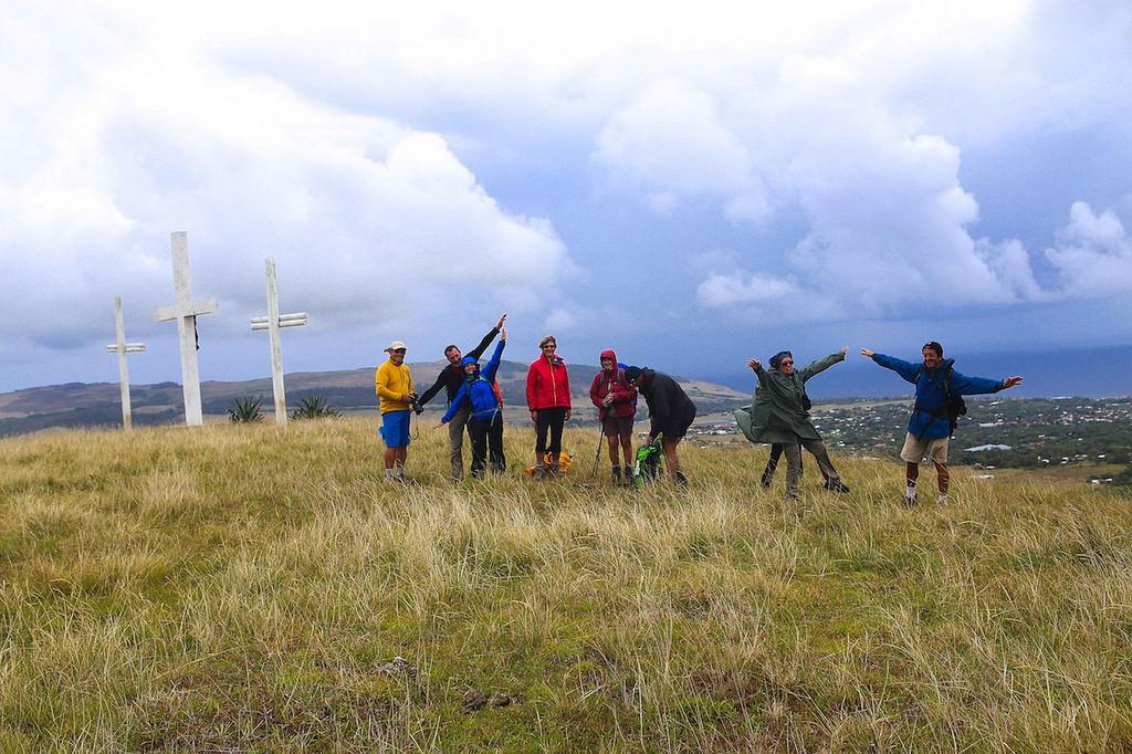 Lors de l'ascension du volcan Maunga