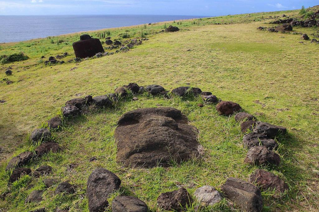 Une tête de moai à demi enterrée