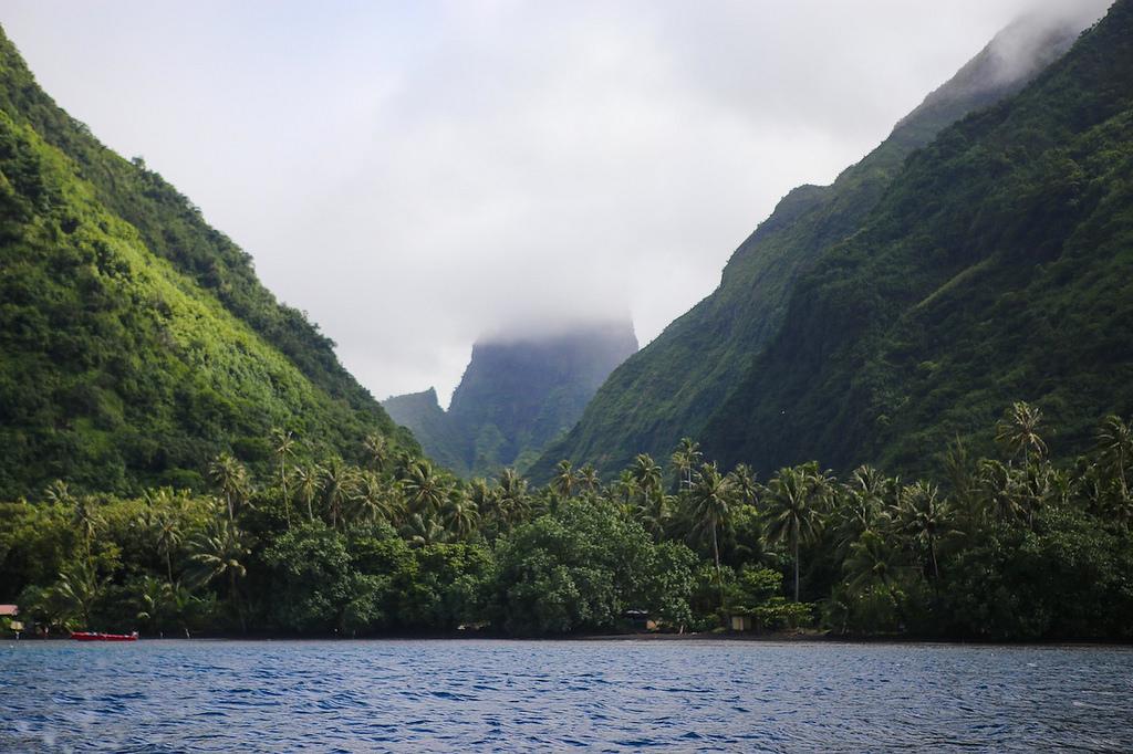 Depuis le bateau, la côte de Te Pari