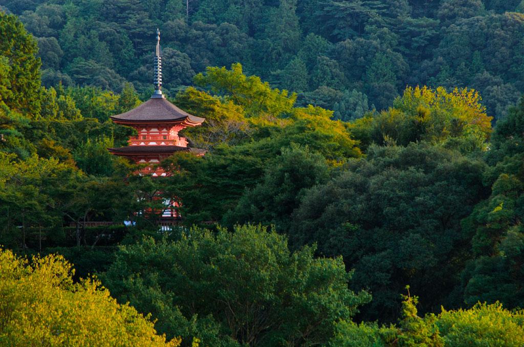 Pagode dans la forêt de Kiyomizu. Kyoto