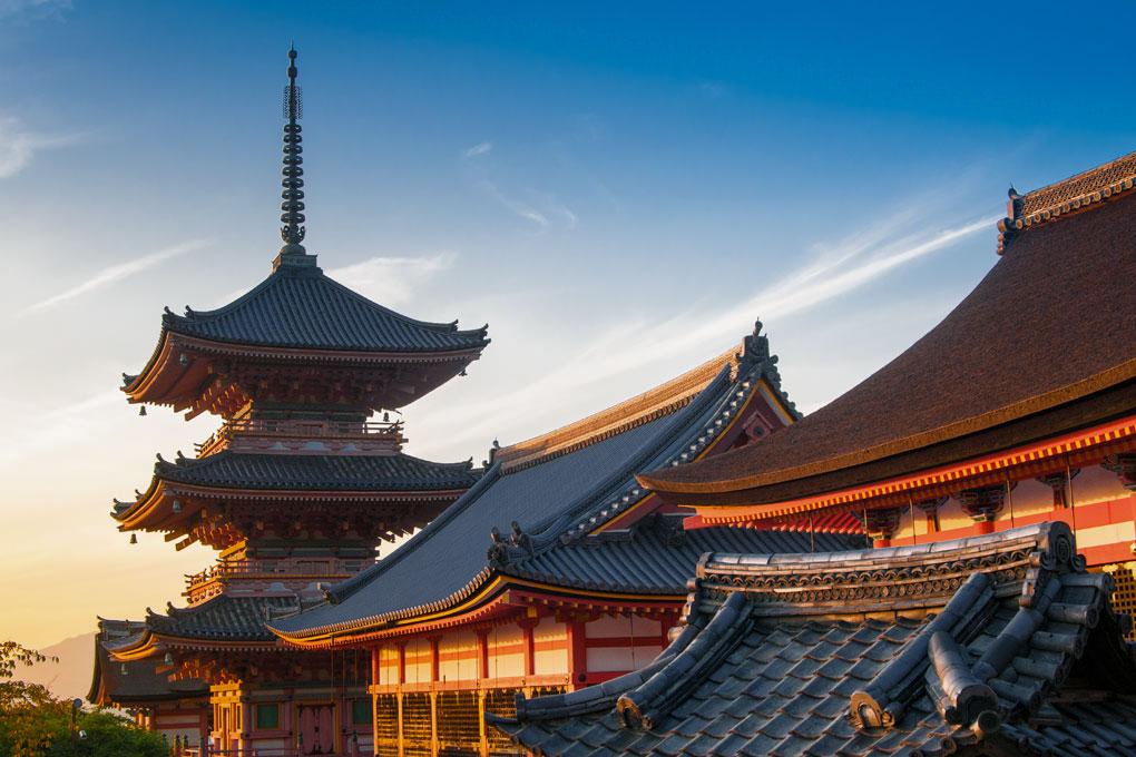 Coucher de soleil sur le Kiyomizu Dera