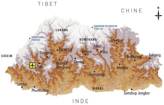 Carte générale du Bhoutan