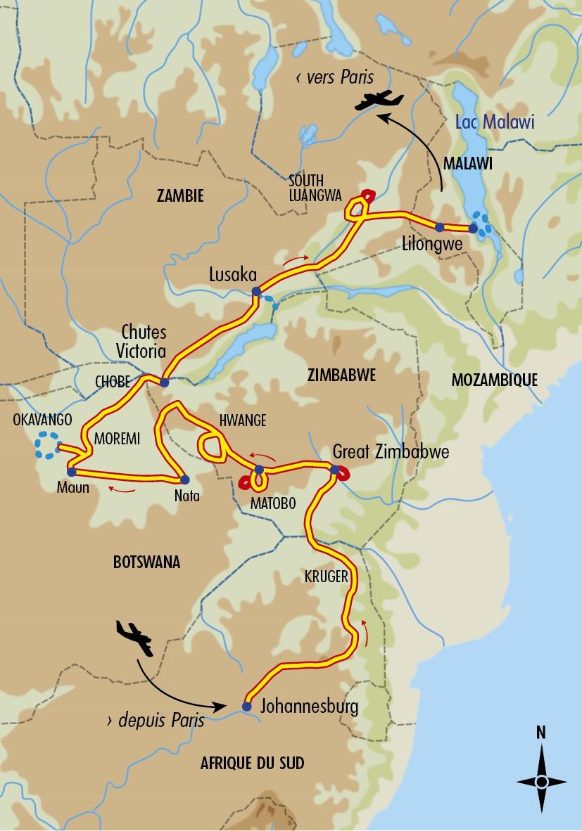 carte afrique australe