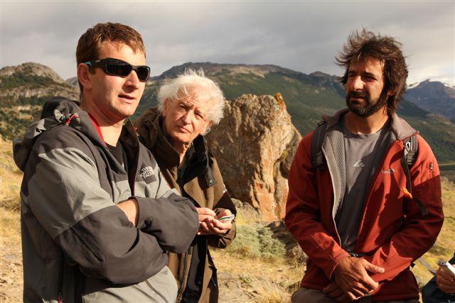 Alex (notre guide), Jean (notre scribe savant) et Mauricio (le guide local obligatoire à Chalten)