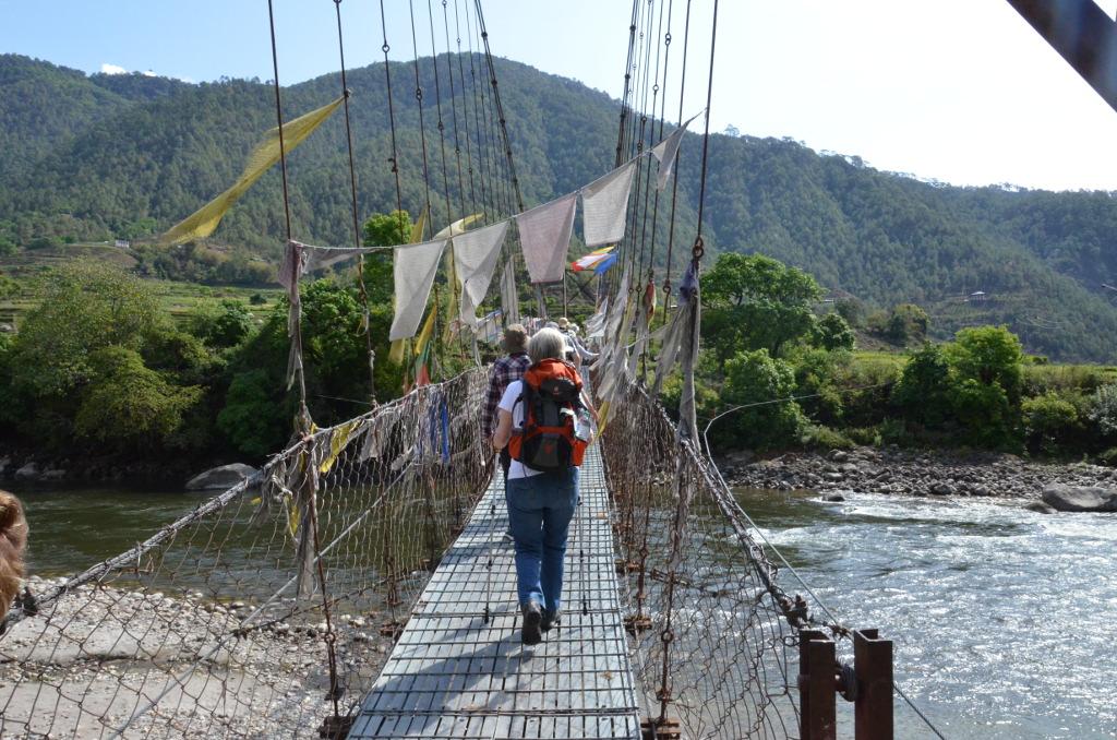 Passage d'un pont suspendu, en pleine campagne