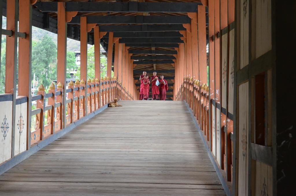 Le pont menant jusqu'au dzong